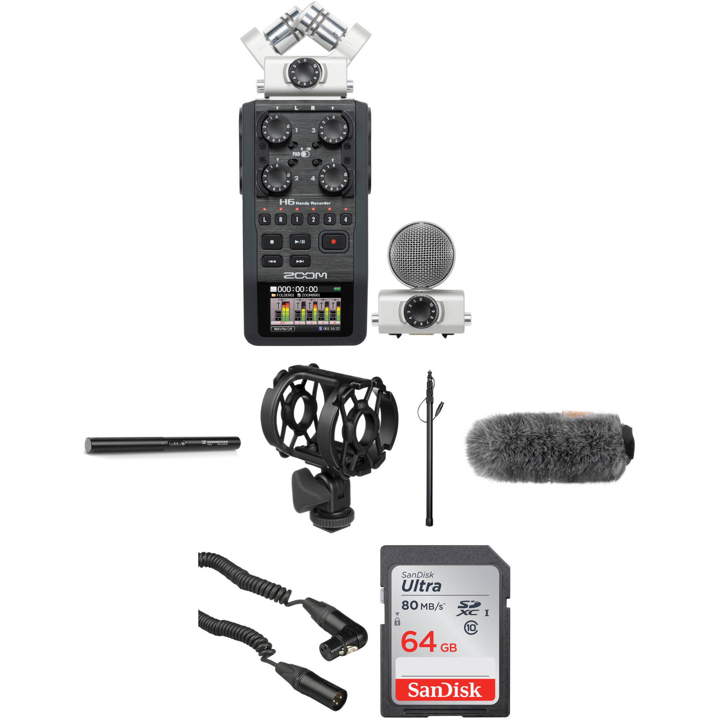Zoom H6 Recorder Zoom H6 Portable Recorder Kit With Sennheiser Mke 600 Shotgun Mic And Boompole