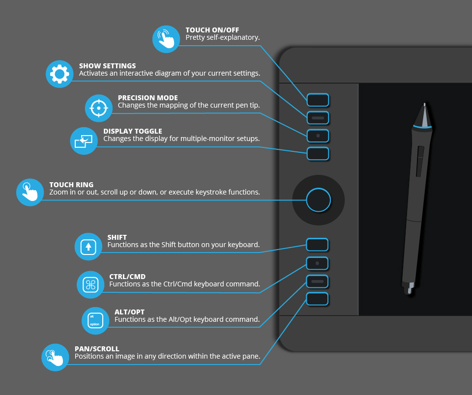 Wacom Intuos Pro Medium Infographic: The Buttons On The Wacom Intuos Pro Tablet