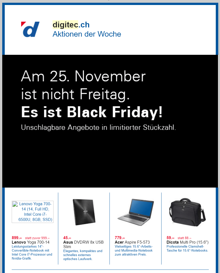 Rabatte Black Friday Alle Digitec Black Friday 2019 Und Cyber Monday Deals In Der Übersicht