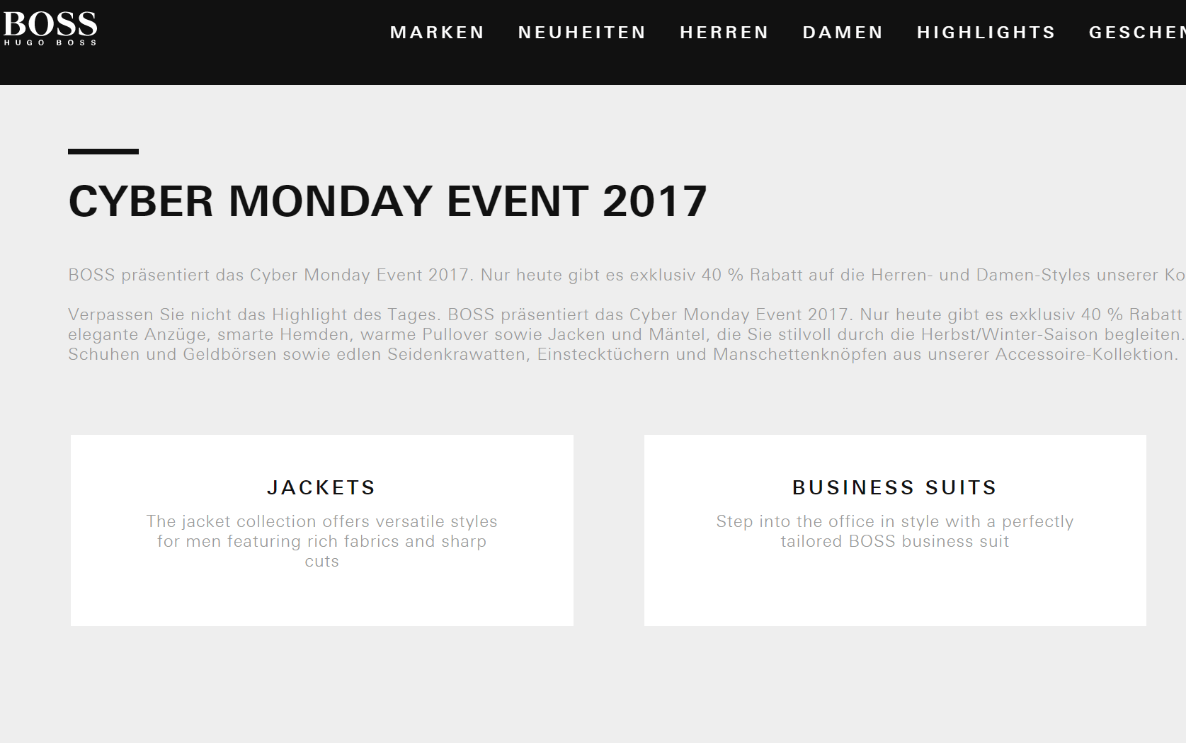 Black Friday Wann Alle Hugo Boss Black Friday Und Cyber Monday Deals In Der