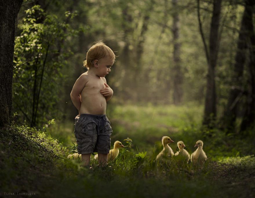 Elena Shumilova - Una fotografa ritrae la magia dei suoi bimbi nella natura con animali