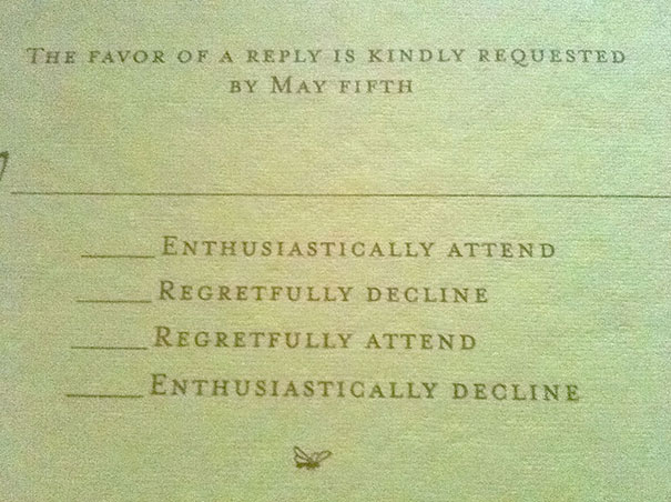 9 Hilarious Wedding Invitations That Simply Can\u0027t Be Ignored Bored