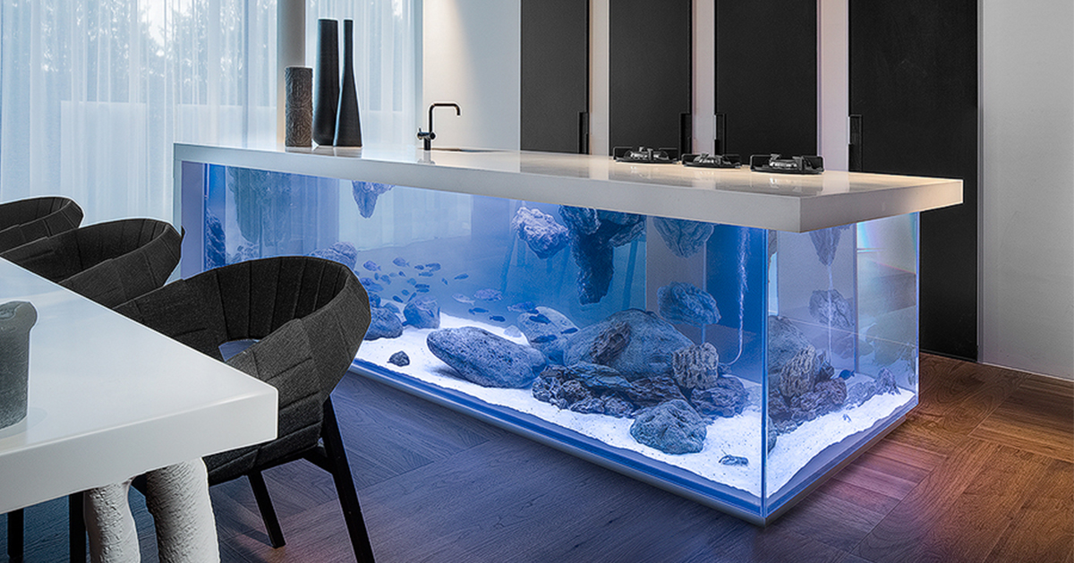 This Kitchen Island Is Also A Giant Aquarium Bored Panda