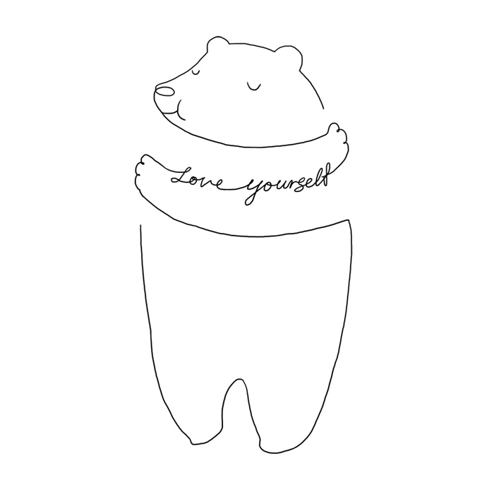 Simple Line Art To Remind You To Love Yourself More Every Day - line drawing