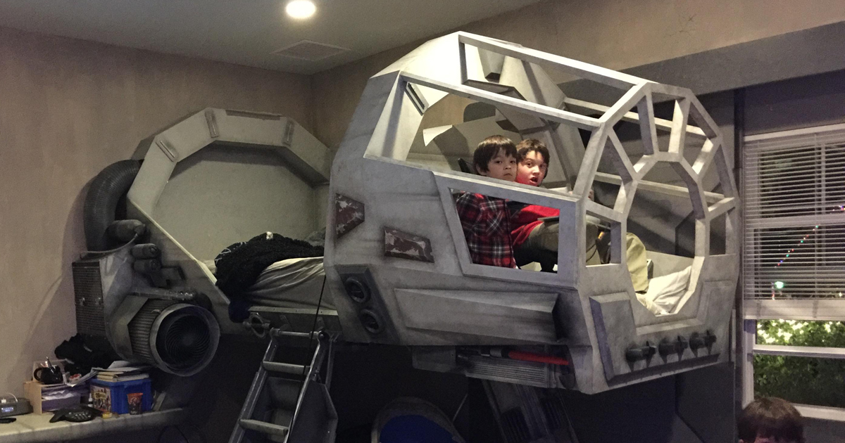 X Wing Fighter Iphone Wallpaper Father Builds His Son A Star Wars Millennium Falcon Bed