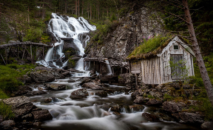 Kvednafossen Waterfall In Norway