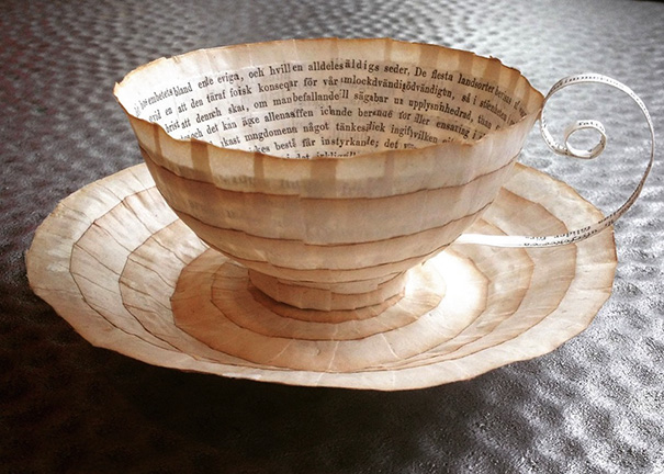 Old Books Repurposed Into Paper Cups And Saucers By