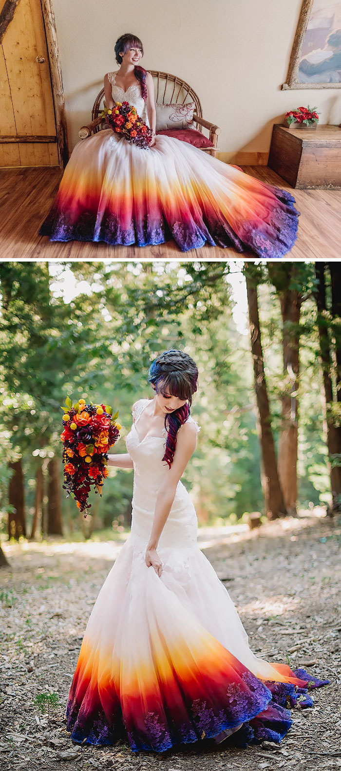 dip dye wedding dress trend colorful wedding dresses Dip Dye Wedding Dress