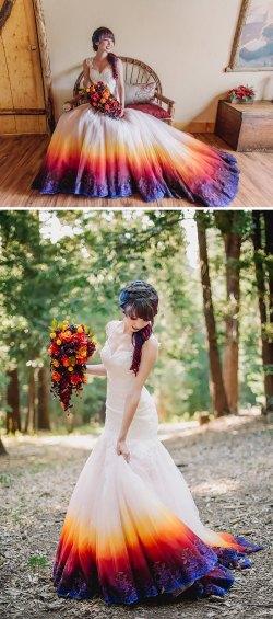Jolly Dip Dye Wedding Dress Dip Dye Wedding Dress Trend Will Make Your Big Day More Colorful Rainbow Wedding Dress Sale Rainbow Unicorn Wedding Dress