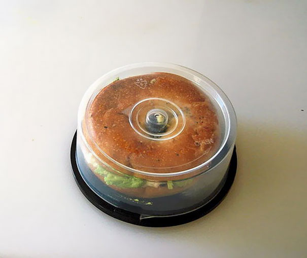 use cd holder to hold your bagel sandwich