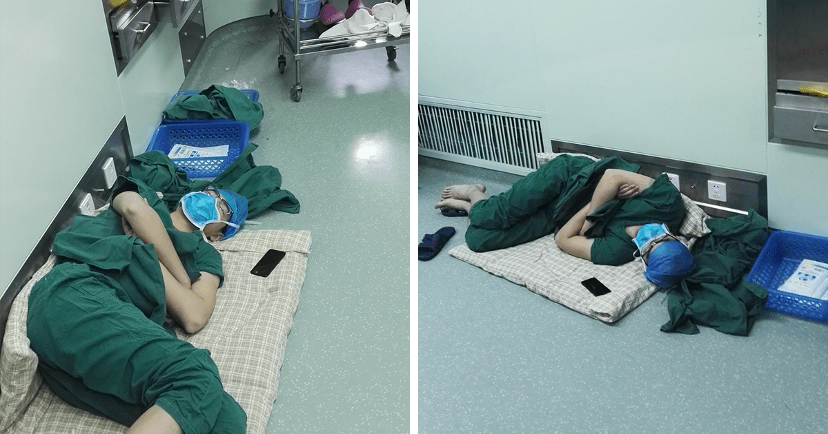 Surgeon Caught Asleep On The Floor After Epic 28 Hour
