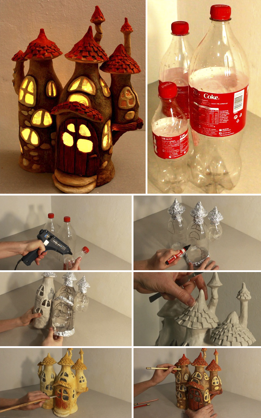 Recycled Plastic Bottle Lamp Recycling Some Plastic Bottles Into A Fairy House Lamp Bored Panda
