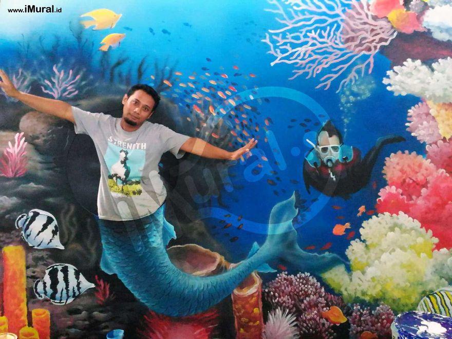 3d Landescape Mural Wallpaper I Made 3d Trick Art For Photobooth In Batam 3d Museum