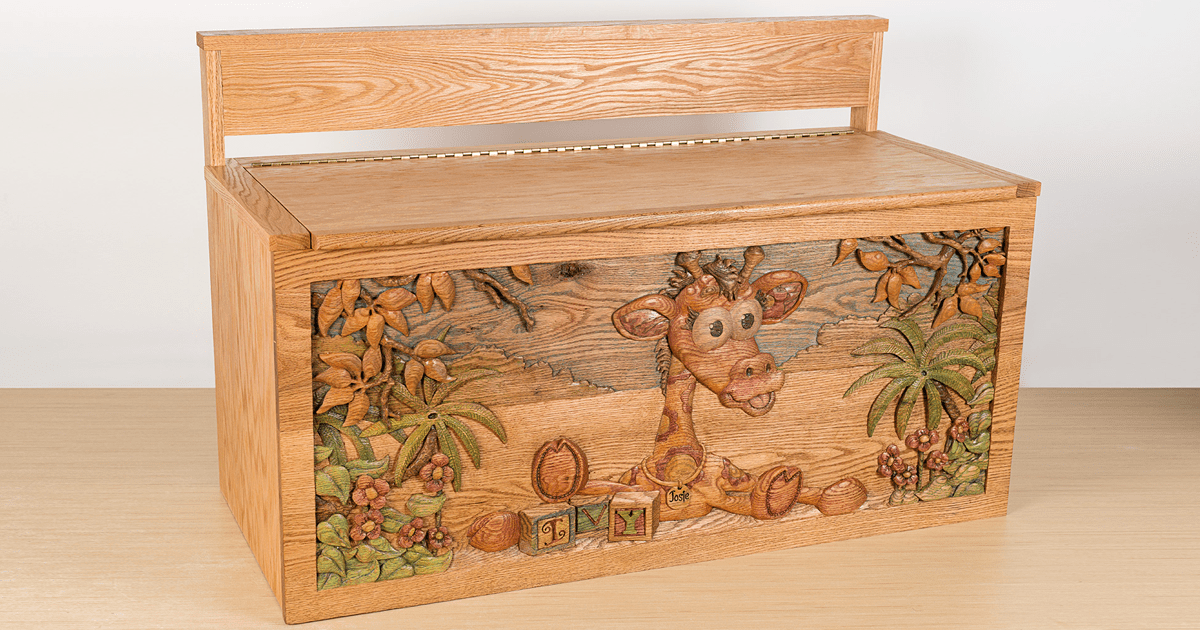 I Hand Carved Two Wooden Toy Boxes For Twins Designed