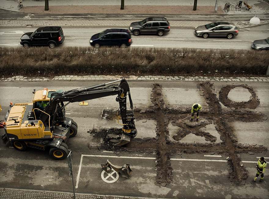 Roadworker's Coffee Break by Erik Johansson