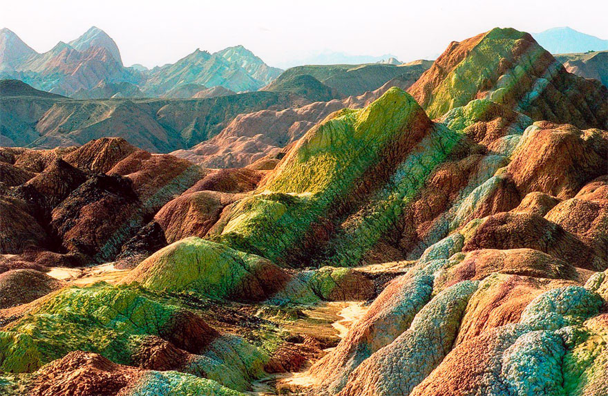Land Form Colourful Rock Formations In The Zhangye Danxia - land form