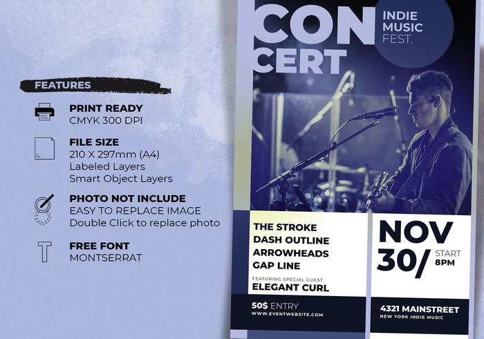 Indie Music Concert Poster Template - Free Photoshop Brushes at