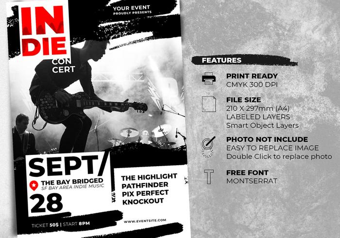 Indie Rock Music Festival Flyer Templates - Free Photoshop Brushes