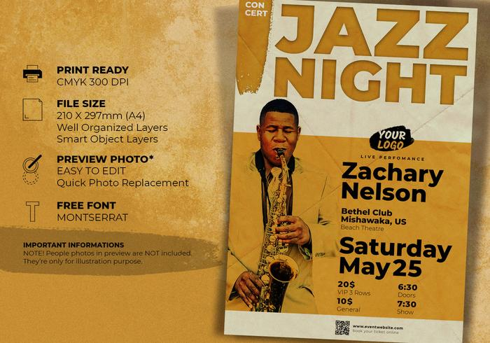 Jazz Concert Music Event Flyer Template - Free Photoshop Brushes at