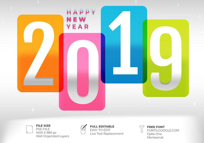 Creative 2019 Text Effect Happy New Year Design Background - Free