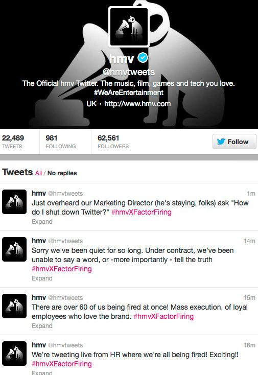 How HMV\u0027s Twitter Stream Went Rogue - Business Insider - layoff tracking website