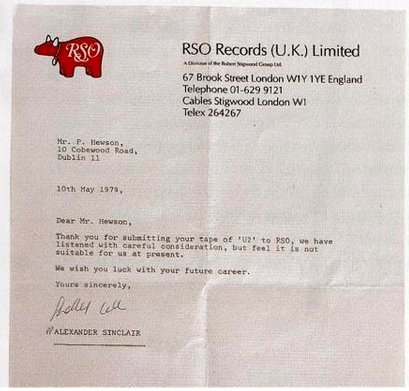 U2 Rejection Letter From Record Label - Business Insider