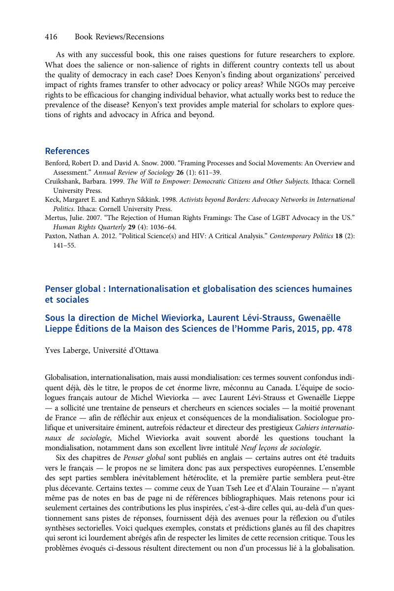 Penser Global Internationalisation Et Globalisation Des Sciences Humaines Et Sociales Sous La Direction De Michel Wieviorka Laurent Lévi Strauss Gwenaëlle Lieppe Éditions De La Maison Des Sciences De L Hommeparis 2015 Pp 478