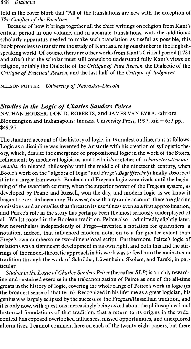 Sanders Nürnberg Studies In The Logic Of Charles Sanders Peircenathan Houser Don D