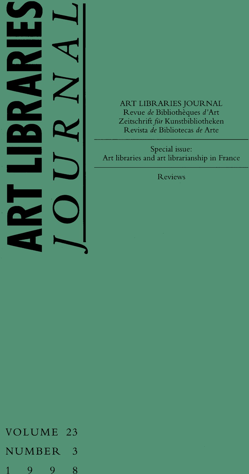 Arte France Journal Alj Volume 23 Issue 3 Cover And Front Matter Art Libraries