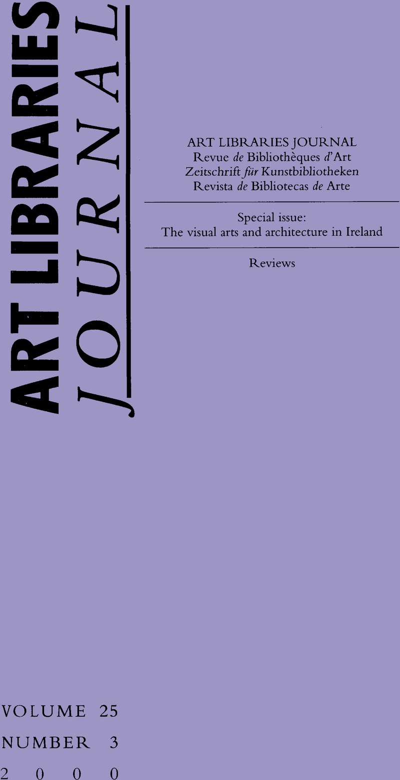 Arte Journal Weekend Alj Volume 25 Issue 3 Cover And Front Matter Art Libraries