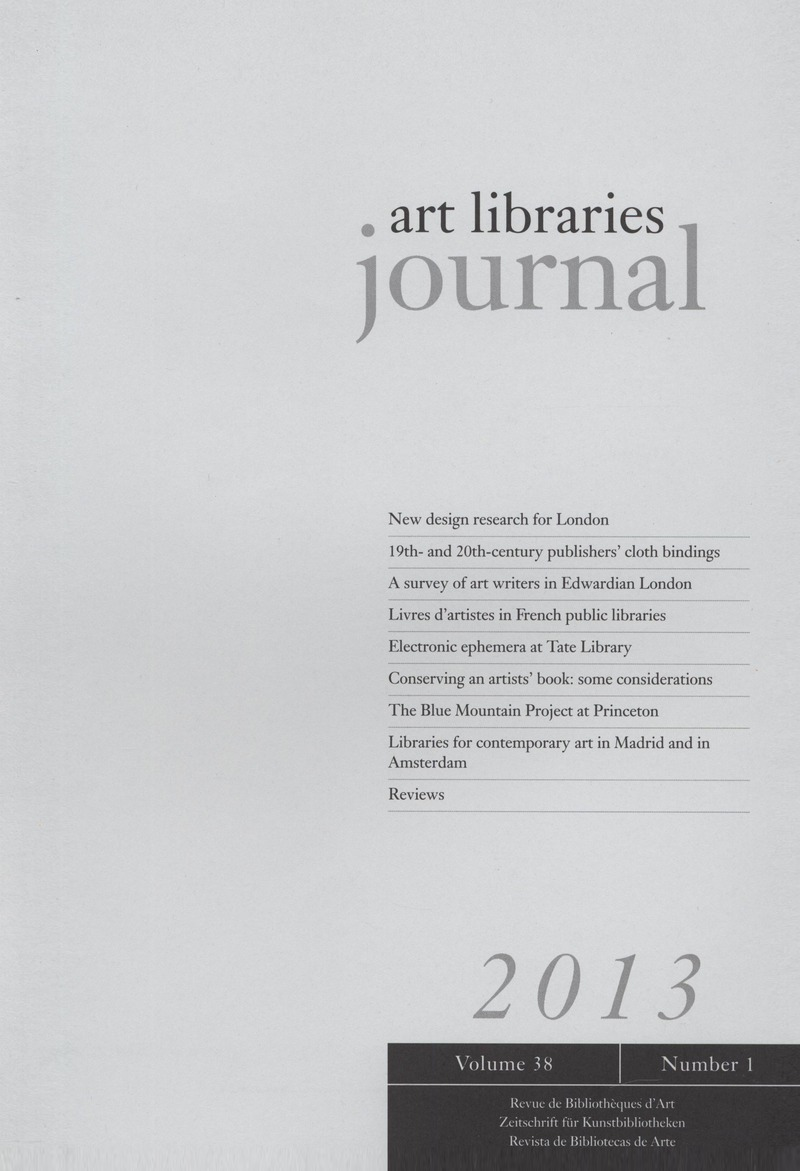 Arte France Journal Alj Volume 38 Issue 1 Cover And Front Matter Art Libraries