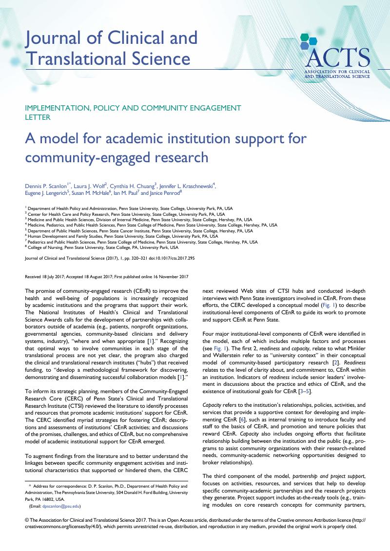 Journal Of Clinical A Model For Academic Institution Support For Community Engaged