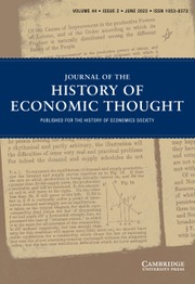O History S Journal Of The History Of Economic Thought Cambridge Core