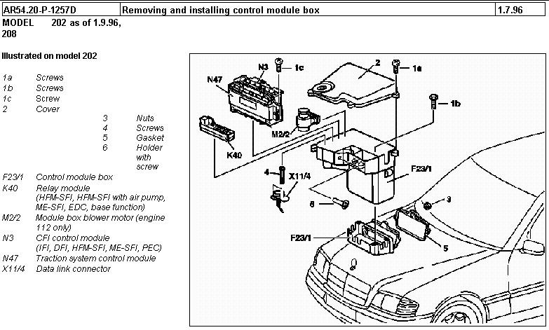 1997 mercedes c230 fuse box location