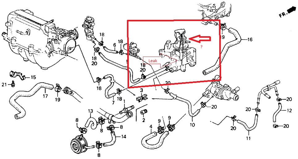 1996 honda accord heater hose