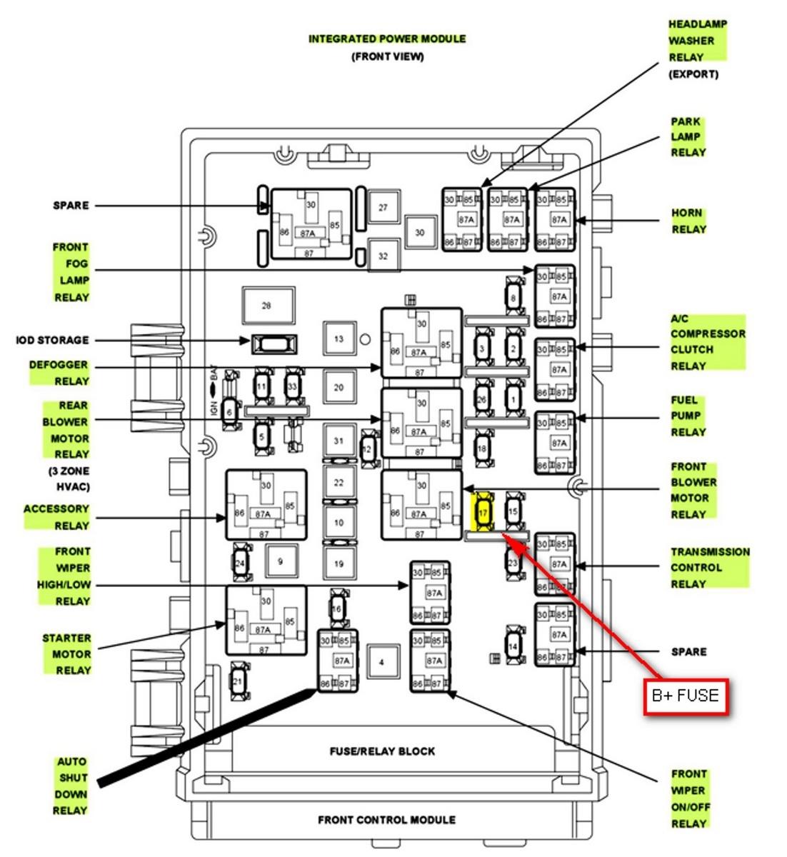 2008 pt cruiser fuse box diagram