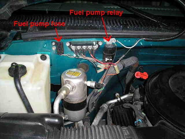 96 chevrolet 1500 fuel filter location