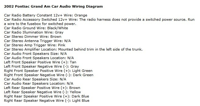 2003 Pontiac Grand Prix Stereo Wiring Harness Wiring Diagram