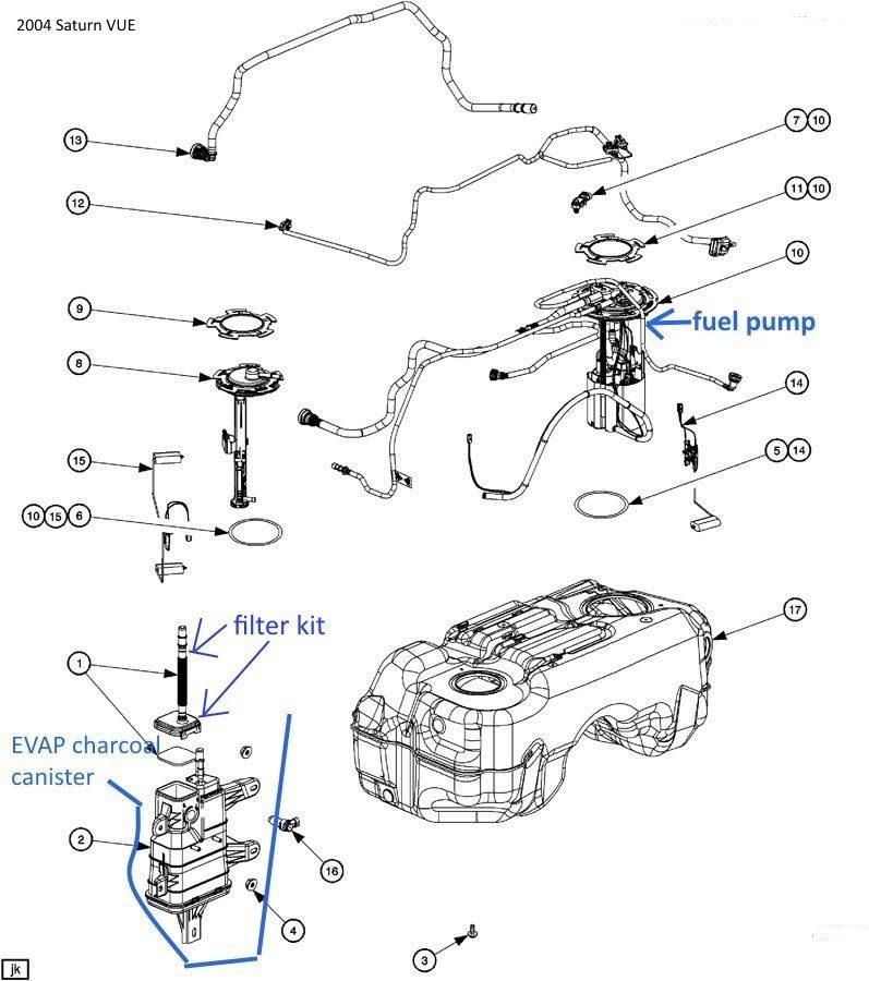 saturn fuel filter location