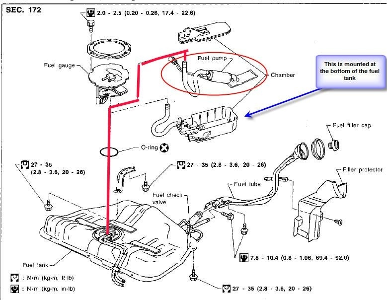 2006 nissan altima fuel filter location
