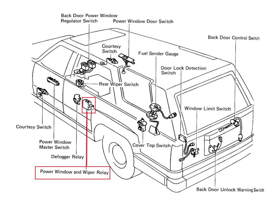 where is the power window relay located on a 93 4 runner