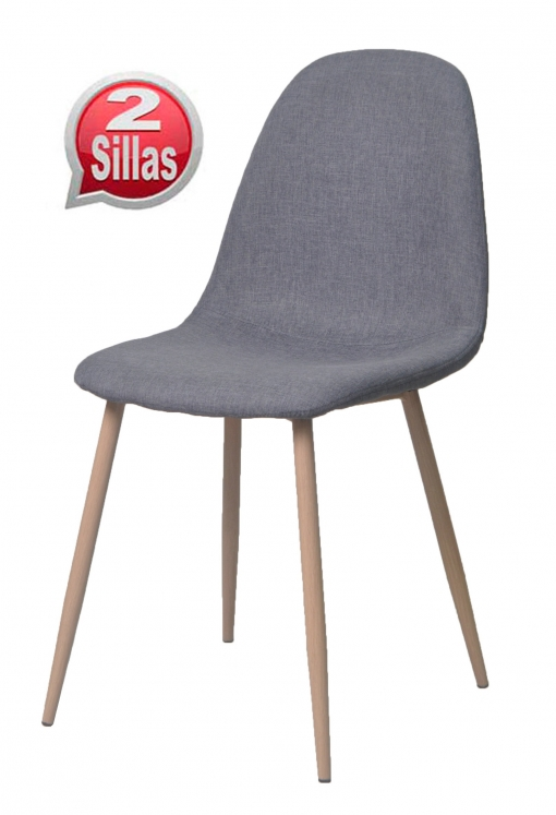 Muebles Carrefour Online Pack 2 Sillas Comedor Pata Metal Efecto Madera