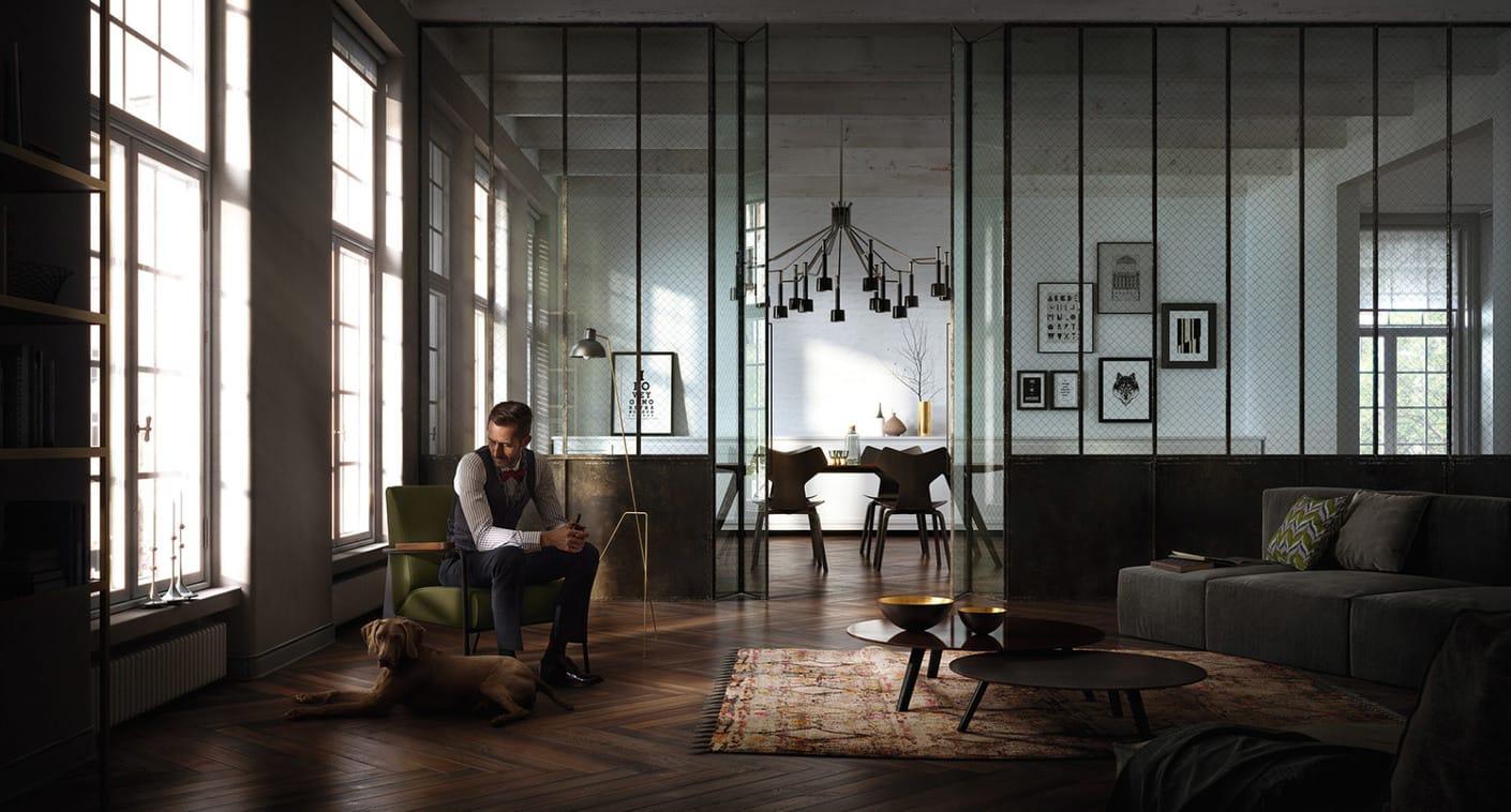 3d House Wallpaper Room Loft Interior 747 Studios Chaos Group