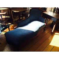 Antique Walnut-Framed Chaise Lounge