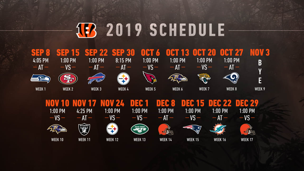 Nfl Schedule Bengals 2019 Schedule Announced Single Game Tickets On Sale Now