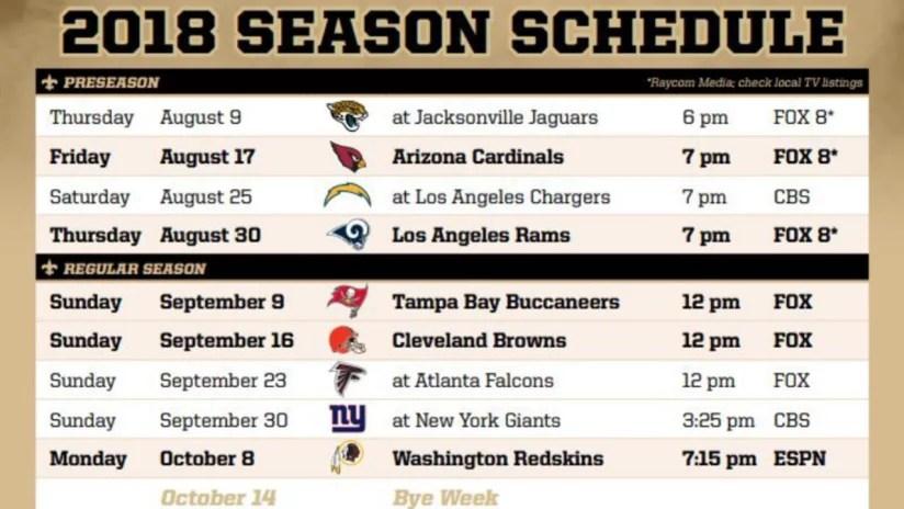 Saints 2018-19 Schedule Breakdown