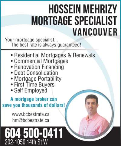 Hossein Mehrizy Mortgage Specialist Vancouver - North Vancouver, BC - 202-1050 14th St W | Canpages
