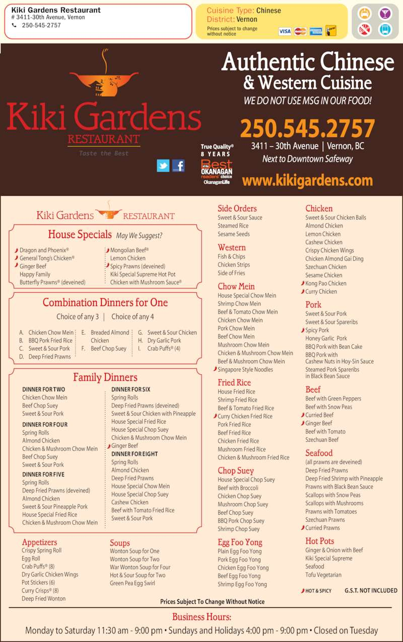 Buffets Quebec City Kiki Gardens Restaurant - Vernon, Bc - 3411 30 Ave | Canpages