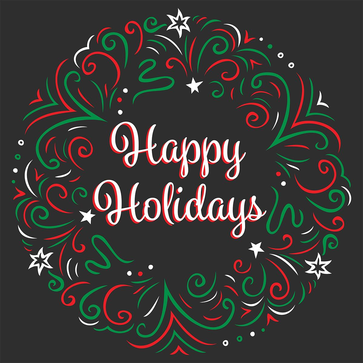 24 X 24 Seasonal Floor Decal Happy Holidays Message