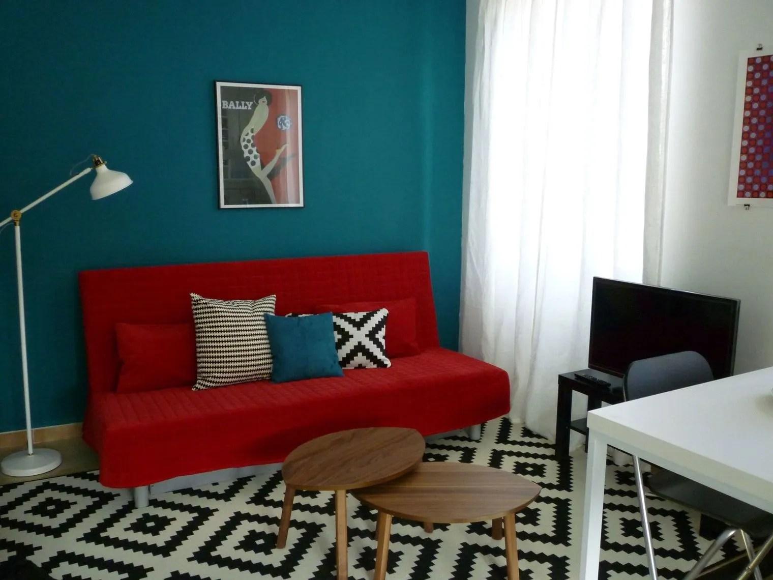 Salon Bleu Canard Et Blanc | Deco Salon Gris Et Bleu Canard
